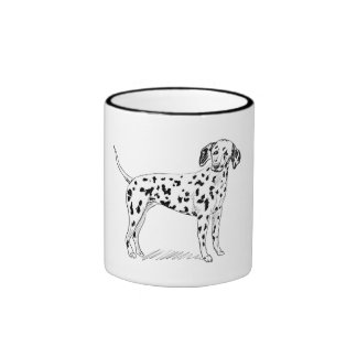 Retro Dalmatian Sketch Looking Aside Coffee Mug