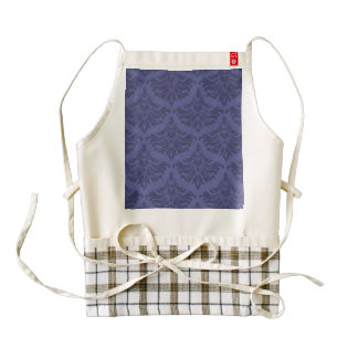 Retro Damask Brocade Blueberry Purple Zazzle HEART Apron
