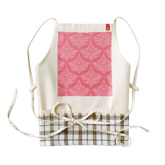 Retro Damask Brocade Coral Red Zazzle HEART Apron