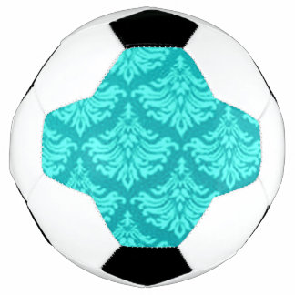 Retro Damask Brocade Cyan Teal Peacock Soccer Ball