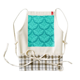 Retro Damask Brocade Cyan Teal Peacock Zazzle HEART Apron
