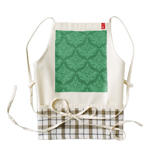 Retro Damask Brocade Emerald Green Zazzle HEART Apron