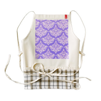 Retro Damask Brocade Lavender Purple Zazzle HEART Apron