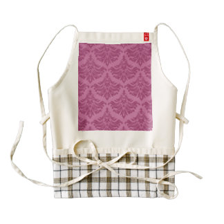 Retro Damask Brocade Pink Romance Zazzle HEART Apron