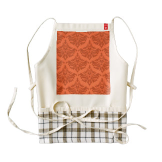 Retro Damask Brocade Tangerine Orange Zazzle HEART Apron