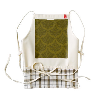 Retro Damask Brocade Woodland Sage Green Zazzle HEART Apron