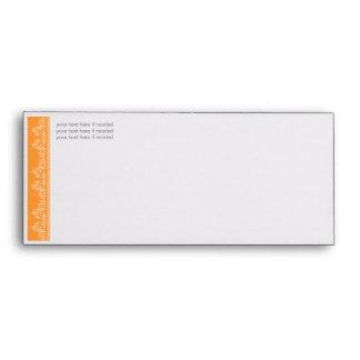Retro Damask Filigree Side Elegant Orange Envelopes