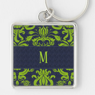 Retro Damask Navy Blue and Jade Swirls Monogram Keychain