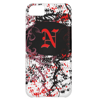 Retro Damask Pattern with Monogram Letter N iPhone 5C Cases