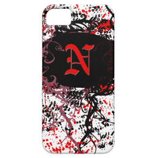 Retro Damask Pattern with Monogram Letter N iPhone SE/5/5s Case