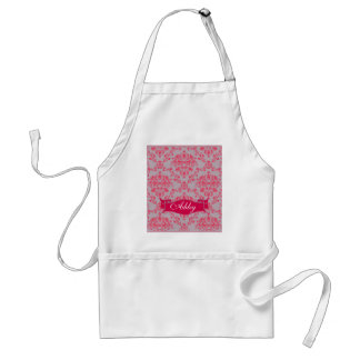 Retro Damask Pink on Grey Monogram Adult Apron