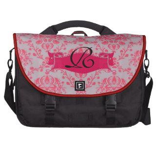Retro Damask Pink on Grey Monogram Bag For Laptop