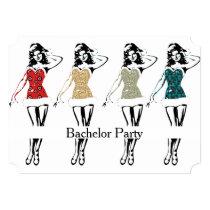 Retro Dancing Girls Bachelor Party Invitation