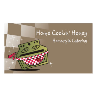 retro dancing stove oven business card brown, H...