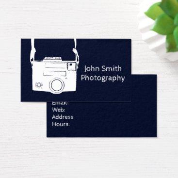 Professional Business Retro Dark Blue Vintage Film Camera Photography Business Card