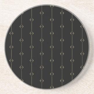 Retro Dark Gold Lounge pattern Drink Coasters