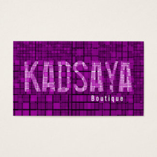 Retro Dark Purple Mosaic Boutique Business Card