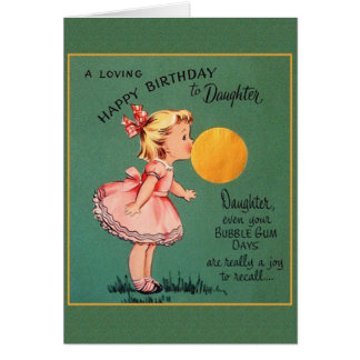 Retro Daughter Bubble Gum Birthday Greeting Card