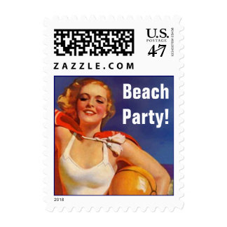 Retro Day At The Beach Announce Your Party! Stamps