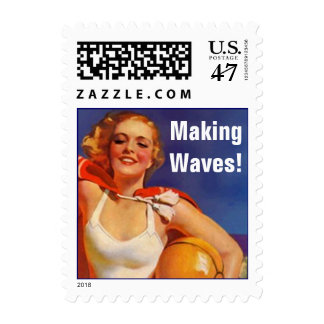Retro Day At The Beach Sayings Fav Beach! Stamps