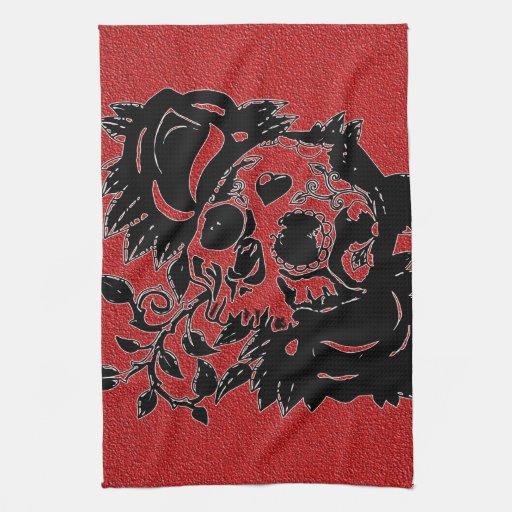 Retro Day of the Dead Grunge Sugar Skull Hand Towel