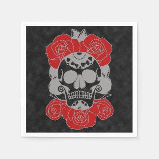 Retro Day of the Dead Grunge Sugar Skull Paper Napkin