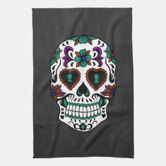 Retro Day of the Dead Sugar Skull Kitchen Towel