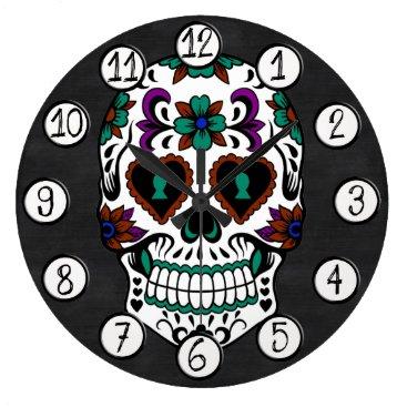 Funky_Skull Retro Day of the Dead Sugar Skull Large Clock