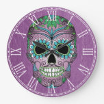 Retro Day of the Dead Sugar Skull on Leather Wall Clocks