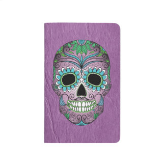 Retro Day of the Dead Sugar Skull on Leather Journal