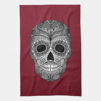 Retro Day of the Dead Sugar Skull on Leather Kitchen Towel