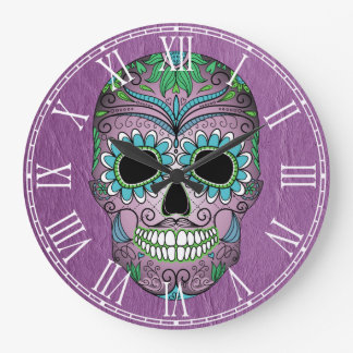 Retro Day of the Dead Sugar Skull on Leather Large Clock