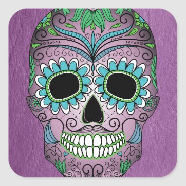 Tons_of_Texture Retro Day of the Dead Sugar Skull on Leather Square Sticker