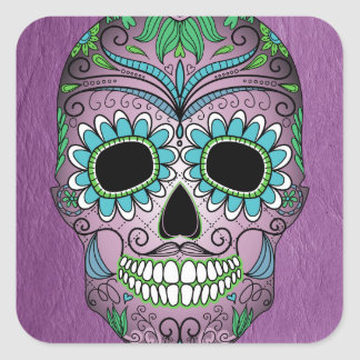Retro Day of the Dead Sugar Skull on Leather Sticker