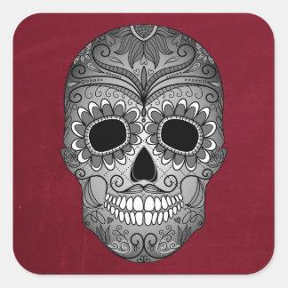 Retro Day of the Dead Sugar Skull on Leather Square Sticker