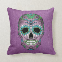 Retro Day of the Dead Sugar Skull on Leather Throw Pillow