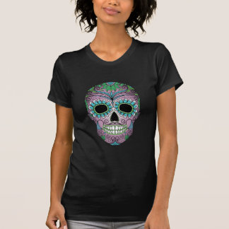 Retro Day of the Dead Sugar Skull on Leather T Shirt