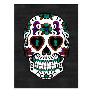 Retro Day of the Dead Sugar Skull Postcard