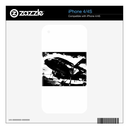 Retro DC3 Airplane Prop Plane Aviation Jet Design Decal For iPhone 4