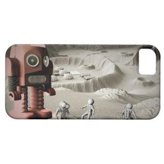 Retro de los astronautas del robot y del juguete d iPhone 5 cárcasa