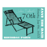 Retro Deckchair 70th birthday Party Save the Date Postcard