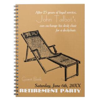 Retro Deckchair Retirement Party Guest Book 1 Notebook