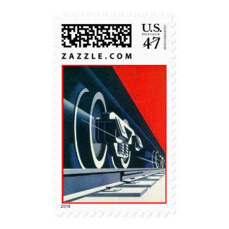 Retro Deco Style Locomotive Engine Train Stamps