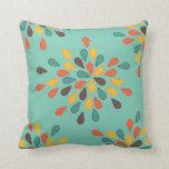 Retro Decorative Turquoise Orange Pattern Throw Pillow