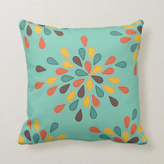 Throw Pillow Design Patterns : Retro Decorative Turquoise Orange Pattern Throw Pillow Zazzle