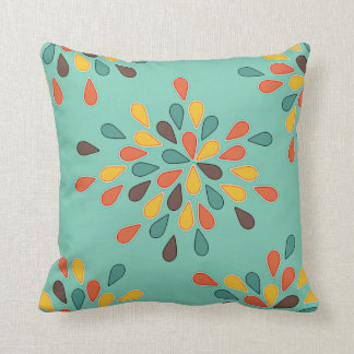 Retro Decorative Turquoise Orange Pattern Throw Pillow