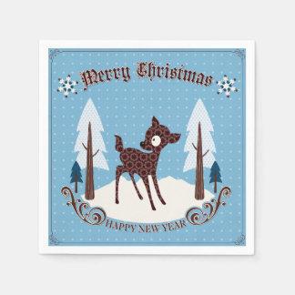 Retro Deer Christmas Cocktail Paper Napkins