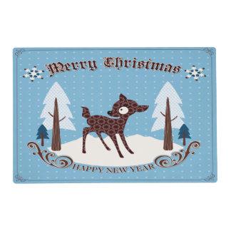 "Retro Deer Christmas Placemat 12""*18"""