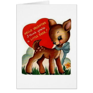 Retro Deer Valentine's Day Greeting Card