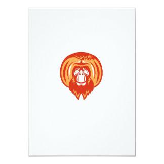 """Retro delantero barbudo del orangután invitación 4.5"""" x 6.25"""""""
